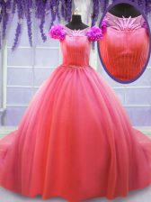 High Class Scoop Watermelon Red Ball Gowns Hand Made Flower Sweet 16 Quinceanera Dress Lace Up Tulle Short Sleeves