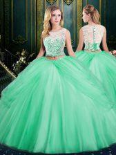 Best Pick Ups Floor Length Apple Green Quinceanera Gowns Scoop Sleeveless Zipper