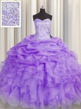 Fashionable Floor Length Ball Gowns Sleeveless Lavender Quince Ball Gowns Lace Up