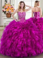 Ball Gowns Sleeveless Fuchsia Ball Gown Prom Dress Brush Train Lace Up