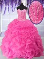 Fancy Organza Sweetheart Sleeveless Lace Up Beading and Ruffles Quinceanera Dress in Hot Pink