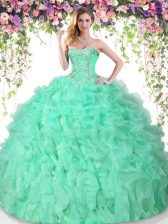 Apple Green Sleeveless Floor Length Beading and Ruffles Lace Up Ball Gown Prom Dress