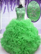 Scoop Sleeveless Lace Up Sweet 16 Dresses Green Organza