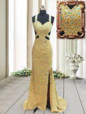 Low Price Gold Column/Sheath Straps Sleeveless Chiffon Brush Train Backless Beading Evening Dress