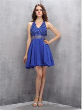 Enchanting V-neck Sleeveless Backless Dress for Prom Royal Blue Chiffon