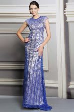 Best Selling Scoop Sleeveless Satin Dress for Prom Beading and Sequins Backless