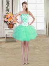 Turquoise Ball Gowns Strapless Sleeveless Organza Mini Length Lace Up Beading and Appliques and Ruffles Prom Dress