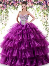 Purple Ball Gowns Beading and Ruffled Layers Sweet 16 Dresses Lace Up Organza Sleeveless Floor Length