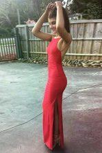 Great Mermaid Scoop Red Backless Homecoming Dress Ruching Sleeveless Floor Length
