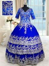 Satin and Tulle Half Sleeves Floor Length Ball Gown Prom Dress and Appliques and Ruffled Layers