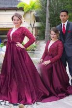 Amazing Scoop Satin Long Sleeves With Train Prom Party Dress Sweep Train and Beading