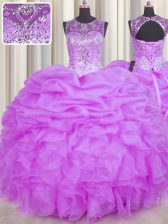 Popular Scoop See Through Sleeveless Beading and Ruffles and Pick Ups Backless Quinceanera Dress