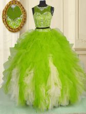 Tulle Scoop Sleeveless Zipper Beading and Ruffles Quinceanera Dress in Multi-color