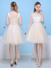 Edgy Champagne Quinceanera Court of Honor Dress Prom and Party with Bowknot Scoop Sleeveless Lace Up