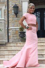 Cheap Mermaid Scoop Sleeveless Sweep Train Backless Prom Dress Rose Pink Satin