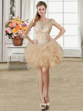 On Sale Scoop Sleeveless Beading and Ruffles Lace Up Dress for Prom