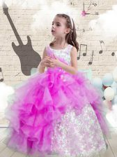 Purple Ball Gowns Scoop Sleeveless Organza Floor Length Lace Up Beading and Ruffled Layers Kids Formal Wear