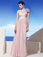 Fashionable One Shoulder Pink Sleeveless Chiffon Side Zipper Prom Evening Gown for Prom and Party