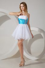 Dazzling Organza Strapless Sleeveless Zipper Beading Quinceanera Court of Honor Dress in White