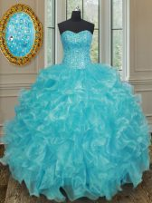 Clearance Sleeveless Beading and Ruffles Lace Up 15 Quinceanera Dress
