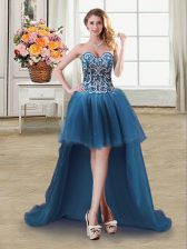 Teal Tulle Lace Up Prom Dress Sleeveless High Low Beading and Sequins