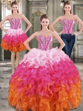 Best Selling Three Piece Multi-color Quince Ball Gowns Military Ball and Sweet 16 and Quinceanera with Beading Sweetheart Sleeveless Lace Up