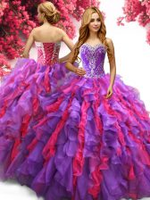 Delicate Multi-color Sleeveless Organza Lace Up Sweet 16 Dress for Military Ball and Sweet 16 and Quinceanera