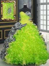 Yellow Green Ball Gowns Beading and Ruffles and Pattern Quinceanera Dress Lace Up Organza and Printed Sleeveless With Train