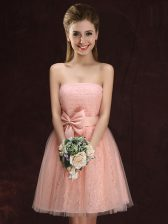 Excellent Peach Lace Up Damas Dress Lace and Bowknot Sleeveless Mini Length