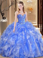 Cute Sleeveless Organza Floor Length Lace Up Quinceanera Dresses in Blue with Beading and Embroidery and Ruffles