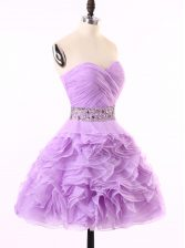 Lavender Zipper Prom Evening Gown Beading and Ruching Sleeveless Mini Length
