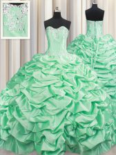 Romantic Sleeveless Brush Train Beading and Pick Ups Lace Up Sweet 16 Dresses