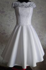 White A-line Bateau Cap Sleeves Satin Knee Length Zipper Lace Dress for Prom