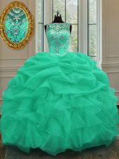 Glittering Scoop Apple Green Ball Gowns Beading and Pick Ups Sweet 16 Dress Lace Up Organza Sleeveless Floor Length