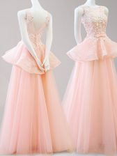 Scoop Peach A-line Appliques and Belt Homecoming Dress Backless Tulle Sleeveless Floor Length