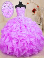 Glamorous Sweetheart Sleeveless Quince Ball Gowns Floor Length Beading and Ruffles Lilac Organza