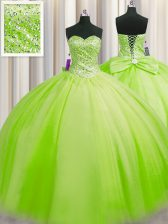 Traditional Big Puffy Ball Gowns Tulle Sweetheart Sleeveless Beading Floor Length Lace Up 15 Quinceanera Dress
