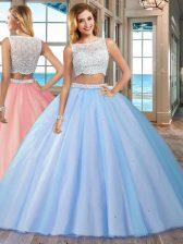 Dazzling Floor Length Blue 15 Quinceanera Dress Tulle Sleeveless Beading