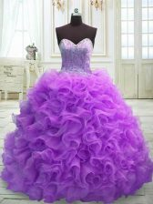 Custom Fit Purple Ball Gowns Organza Sweetheart Sleeveless Beading and Ruffles Lace Up 15 Quinceanera Dress Sweep Train