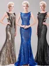 Attractive Mermaid Square Sleeveless Brush Train Clasp Handle With Train Appliques and Sequins Prom Dresses