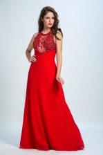 Chiffon Scoop Sleeveless Zipper Beading Prom Dress in Red