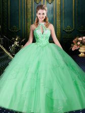 Nice Halter Top Apple Green Sleeveless Beading and Lace and Ruffles and Ruching Floor Length 15 Quinceanera Dress