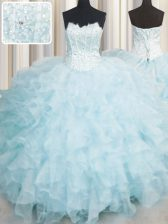 Scalloped Sleeveless Ruffles Lace Up Quinceanera Gown