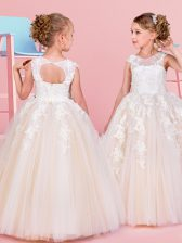 Scoop Sleeveless Tulle Flower Girl Dresses for Less Beading and Appliques Lace Up