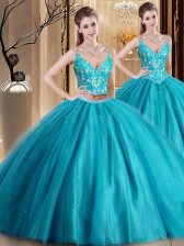 Customized Teal Sleeveless Beading and Lace and Appliques Floor Length Quinceanera Gown