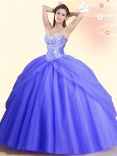 Hot Sale Sleeveless Floor Length Beading Lace Up Sweet 16 Quinceanera Dress with Lavender