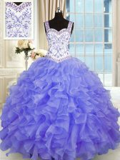 Deluxe Floor Length Purple Quinceanera Gowns Organza Sleeveless Beading and Appliques and Ruffles