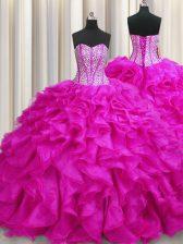 Visible Boning Fuchsia Quinceanera Dresses Sweetheart Sleeveless Brush Train Lace Up