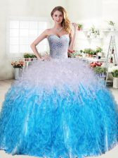 Floor Length Blue And White Sweet 16 Dresses Organza Sleeveless Beading and Ruffles