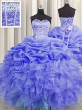 Fabulous Visible Boning Purple Sleeveless Beading and Ruffles and Pick Ups Floor Length 15 Quinceanera Dress